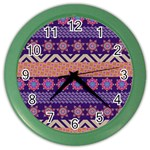 Colorful Winter Pattern Color Wall Clocks Front