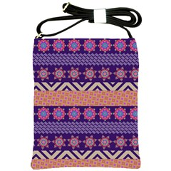 Colorful Winter Pattern Shoulder Sling Bags by DanaeStudio