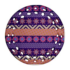 Colorful Winter Pattern Round Filigree Ornament (2side) by DanaeStudio