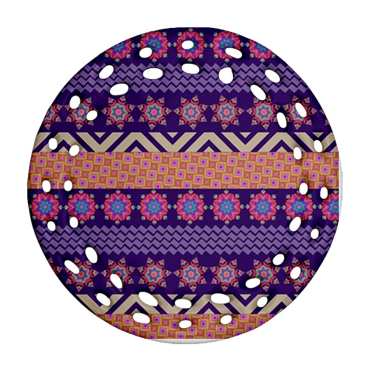 Colorful Winter Pattern Round Filigree Ornament (2Side)