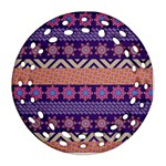 Colorful Winter Pattern Round Filigree Ornament (2Side) Back