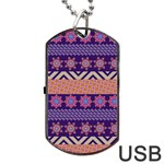 Colorful Winter Pattern Dog Tag USB Flash (Two Sides)  Back