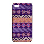 Colorful Winter Pattern Apple iPhone 4/4s Seamless Case (Black) Front