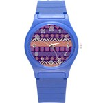 Colorful Winter Pattern Round Plastic Sport Watch (S) Front