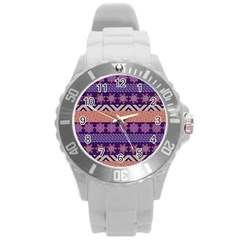 Colorful Winter Pattern Round Plastic Sport Watch (l) by DanaeStudio
