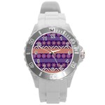Colorful Winter Pattern Round Plastic Sport Watch (L) Front
