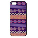 Colorful Winter Pattern Apple iPhone 5 Seamless Case (Black) Front