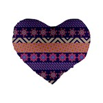 Colorful Winter Pattern Standard 16  Premium Heart Shape Cushions Front