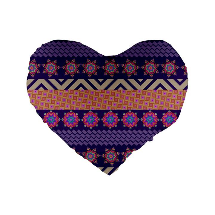 Colorful Winter Pattern Standard 16  Premium Heart Shape Cushions