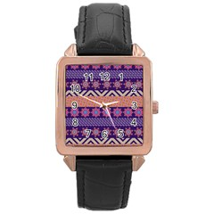 Colorful Winter Pattern Rose Gold Leather Watch  by DanaeStudio
