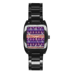 Colorful Winter Pattern Stainless Steel Barrel Watch by DanaeStudio
