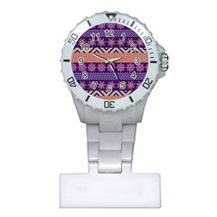 Colorful Winter Pattern Plastic Nurses Watch by DanaeStudio