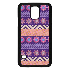Colorful Winter Pattern Samsung Galaxy S5 Case (black) by DanaeStudio
