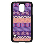Colorful Winter Pattern Samsung Galaxy S5 Case (Black) Front