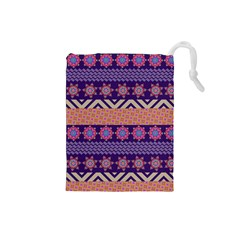 Colorful Winter Pattern Drawstring Pouches (small)  by DanaeStudio
