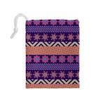 Colorful Winter Pattern Drawstring Pouches (Medium)  Back