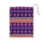 Colorful Winter Pattern Drawstring Pouches (Large)  Front