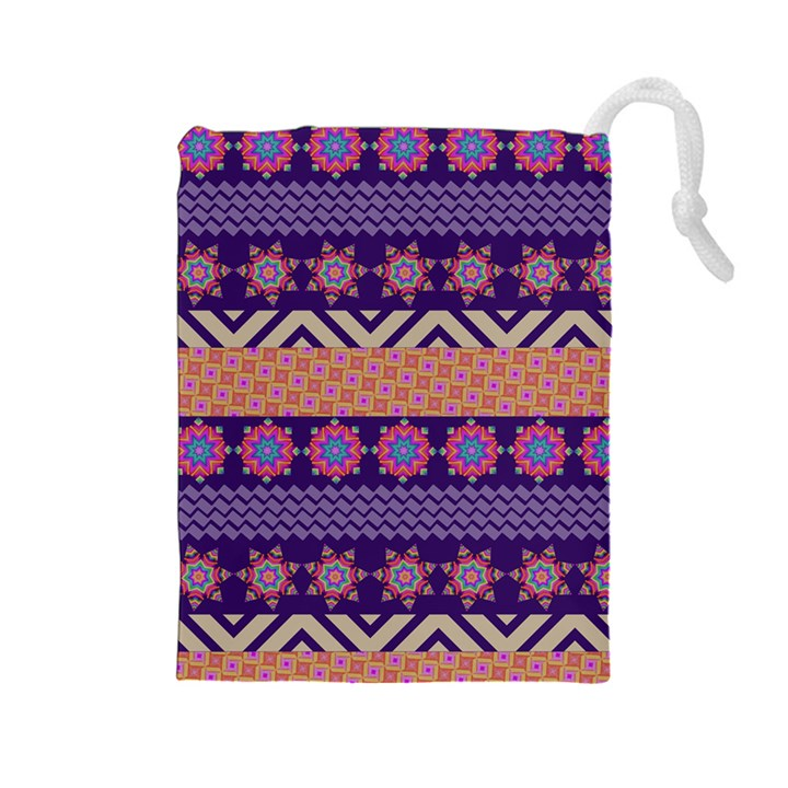 Colorful Winter Pattern Drawstring Pouches (Large)