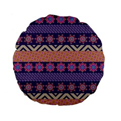 Colorful Winter Pattern Standard 15  Premium Flano Round Cushions by DanaeStudio