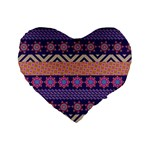 Colorful Winter Pattern Standard 16  Premium Flano Heart Shape Cushions Front