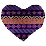 Colorful Winter Pattern Large 19  Premium Flano Heart Shape Cushions Front