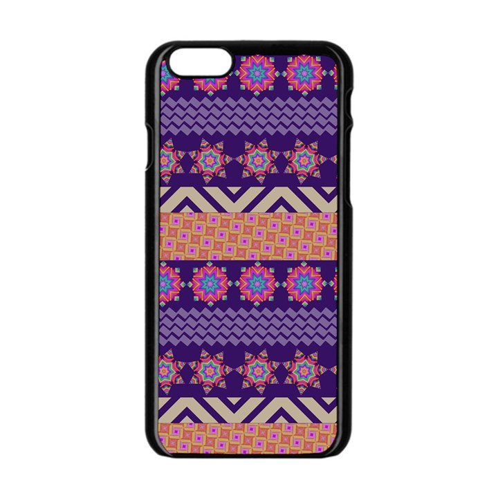 Colorful Winter Pattern Apple iPhone 6/6S Black Enamel Case