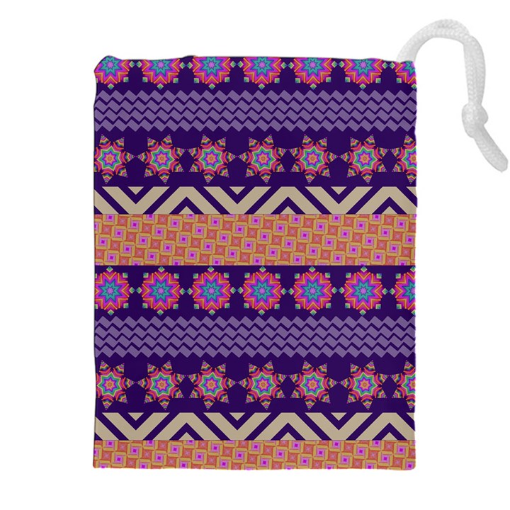 Colorful Winter Pattern Drawstring Pouches (XXL)
