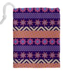 Colorful Winter Pattern Drawstring Pouches (XXL) Back
