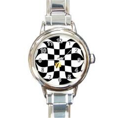 Dropout Yellow Black And White Distorted Check Round Italian Charm Watch by designworld65