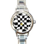 Dropout Yellow Black And White Distorted Check Round Italian Charm Watch Front