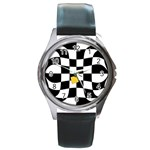 Dropout Yellow Black And White Distorted Check Round Metal Watch Front