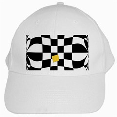 Dropout Yellow Black And White Distorted Check White Cap by designworld65