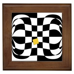 Dropout Yellow Black And White Distorted Check Framed Tiles by designworld65