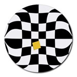 Dropout Yellow Black And White Distorted Check Round Mousepads Front