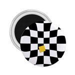 Dropout Yellow Black And White Distorted Check 2.25  Magnets Front