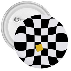 Dropout Yellow Black And White Distorted Check 3  Buttons by designworld65