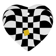 Dropout Yellow Black And White Distorted Check Ornament (heart)  by designworld65