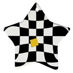 Dropout Yellow Black And White Distorted Check Ornament (Star)  Front