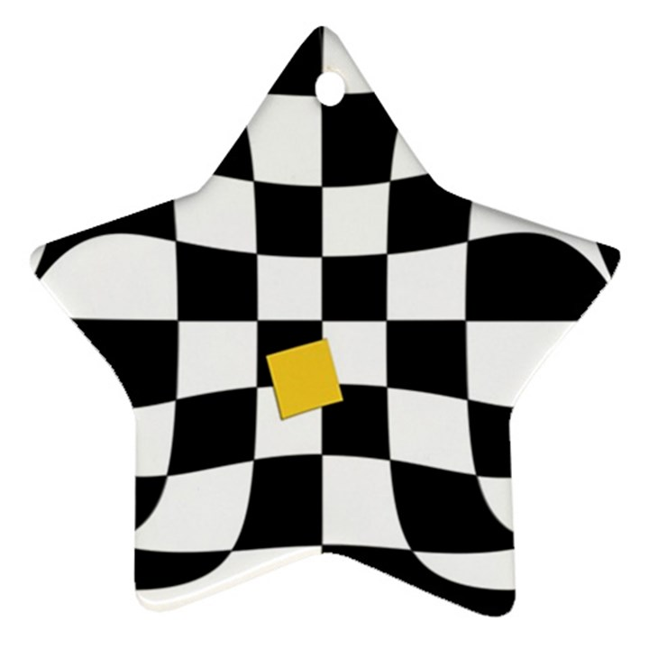 Dropout Yellow Black And White Distorted Check Ornament (Star)