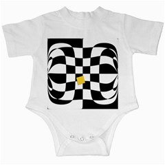 Dropout Yellow Black And White Distorted Check Infant Creepers