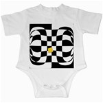 Dropout Yellow Black And White Distorted Check Infant Creepers Front
