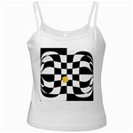 Dropout Yellow Black And White Distorted Check White Spaghetti Tank