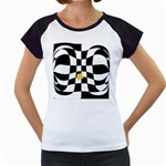 Dropout Yellow Black And White Distorted Check Women s Cap Sleeve T