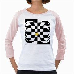 Dropout Yellow Black And White Distorted Check Girly Raglans by designworld65