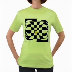 Dropout Yellow Black And White Distorted Check Women s Green T Shirt