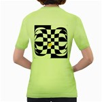 Dropout Yellow Black And White Distorted Check Women s Green T-Shirt Back