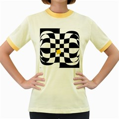 Dropout Yellow Black And White Distorted Check Women s Fitted Ringer T Shirts