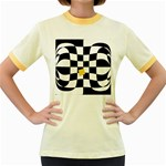 Dropout Yellow Black And White Distorted Check Women s Fitted Ringer T-Shirts Front