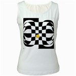 Dropout Yellow Black And White Distorted Check Women s White Tank Top Front