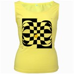 Dropout Yellow Black And White Distorted Check Women s Yellow Tank Top
